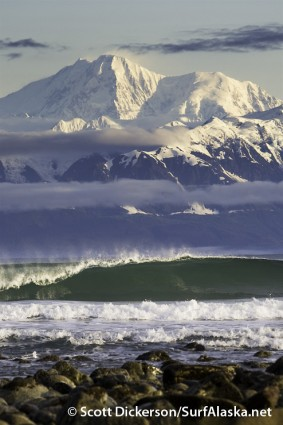 Fall morning with glassy waves at point Carew in Yakutat, Alaska.