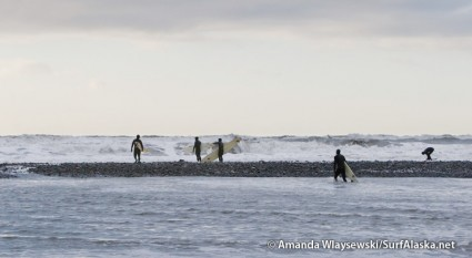 The waiting room. Alaskan surfers looking for a break in the pounding shorebreak