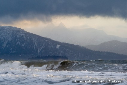 Big stormy winter surf crashing in Kachemak Bay, Alaska