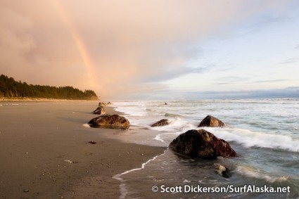Rainbow at Snappers surf beach. Yakutat, Alaska