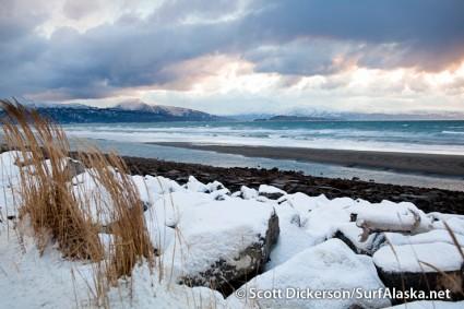 Picturesque storm surfing waves on Kachemak Bay, Alaska.