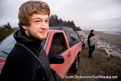 Jake Beaudoin shares a little candid moment of surf stoke after a great session at Snappers, Yakutat, Alaska.