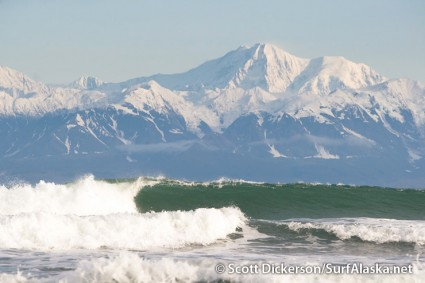 Clear skies, sunshine, snow covered mountains, and the call of some lonely surf, Yakutat, Alaska.