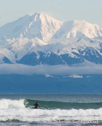 Jake Beaudoin surfing Pt Carrew, Yakutat, Alaska.