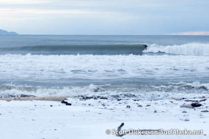 Click the photo to enlarge, and look close, you'll see a surfer (Jake Bell I think) lined up on this section.