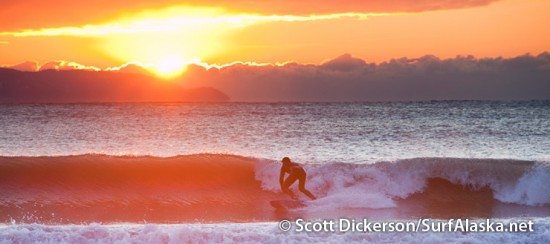 Kyle Kornellis surfing an Alaskan sunset session.