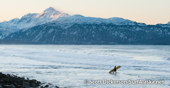 Iceman heading out for a sunrise surf session in Alaska.