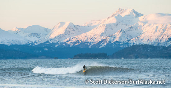 Iceman surfing in Alaska.