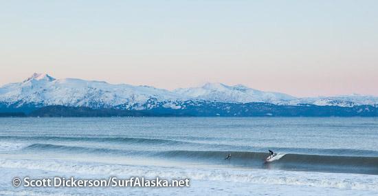 Matt James surfing Alaska.