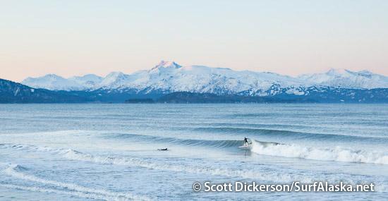 Mike McCune surfing Alaska.