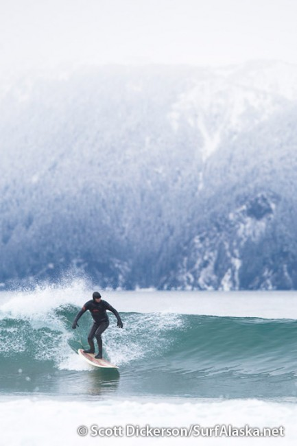 Mike McCune surfing Seward, Alaska.