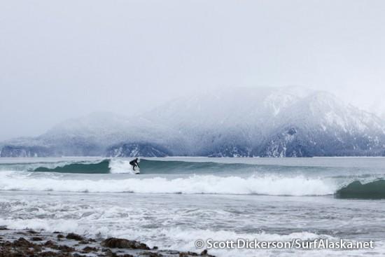 Iceman surfing Seward, Alaska.