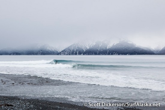 Mike McCune surfing in Seward, Alaska.
