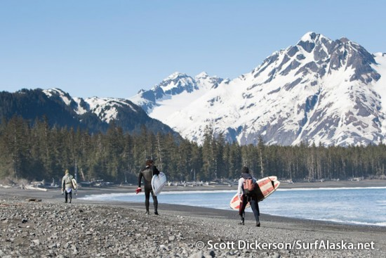 Alex, Ty, and Bob walking back to camp after a surf session at Petrof Glacier, Alaska.