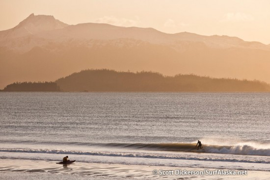 Mike McCune and Randy Keller out for a sunset surf session in Alaska.