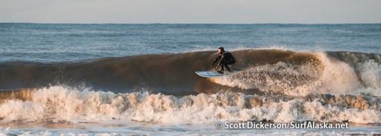 Bob Shavelson surfing Alaska.