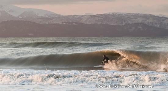 Gart Curtis surfing Alaska.