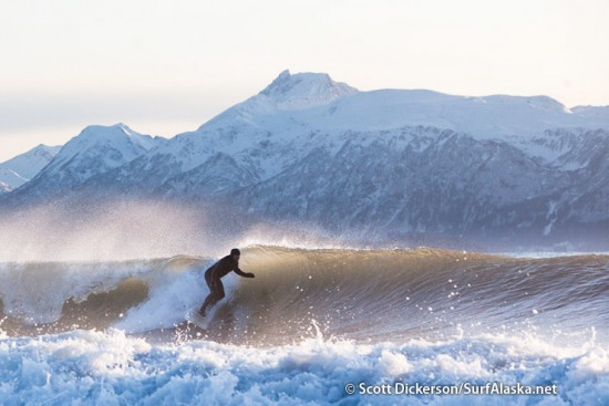 Iceman surfing a left during a mid-November session in Alaska.