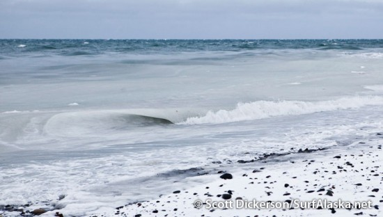 slushy cold surf waves in Alaska