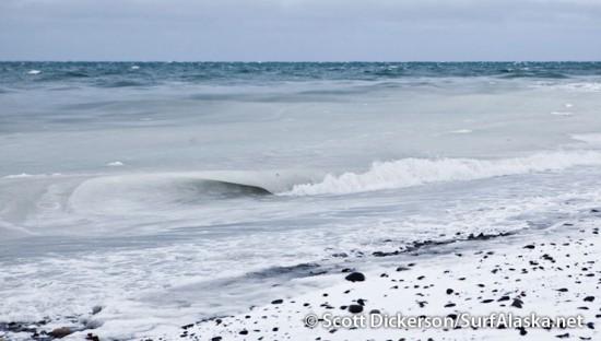 slushy cold surf waves in Alaska