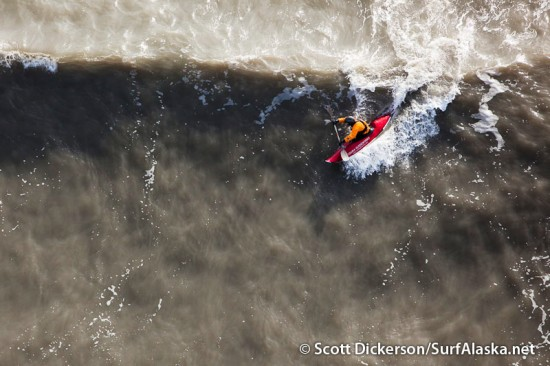 Aerial photo of surf kayaking in Alaska