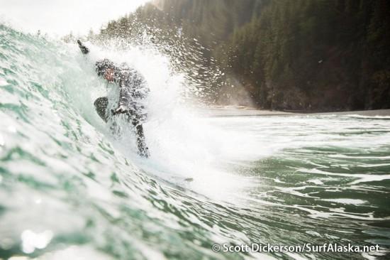 Surfing petrof glacier, Alaska