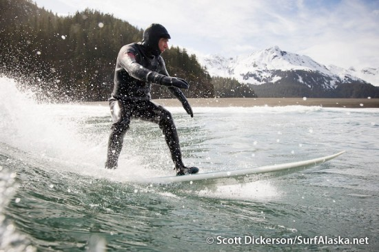 flyout or fly-out Surfing Petrof Glacier, Alaska.