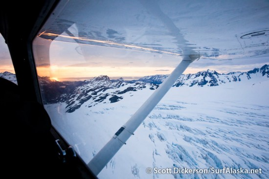 aerial of flying over a glacier in Alaska