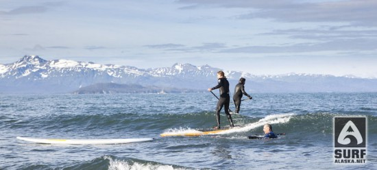 Matt James stand up paddlesurfing in Alaska