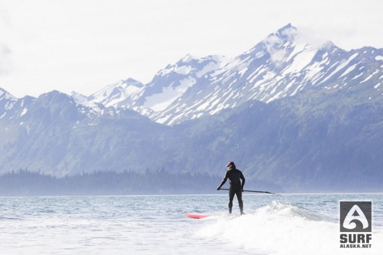 Ty Gates stand up paddlesurfing in Alaska