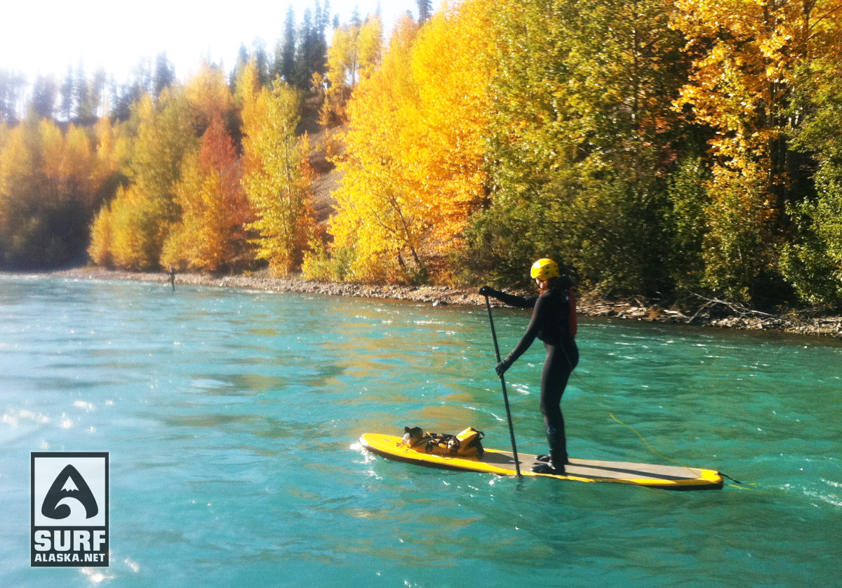 Stephanie Dickerson Stand up paddling the Kenai River