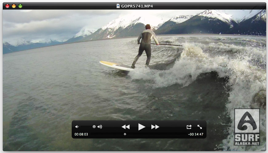 Jeff Hoke stand up paddling the Turnagain Arm boretide. Still grab from the GoPro video (coming soon)