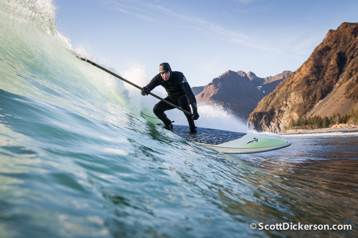 Mike McCune SUP surfing Alaska.