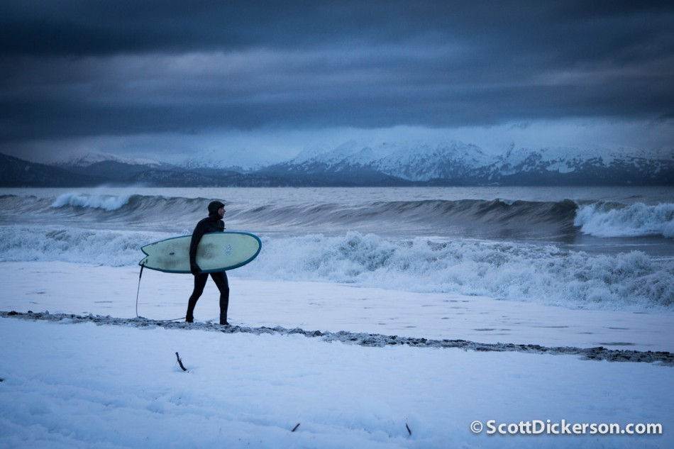 surfing Alaska in winter