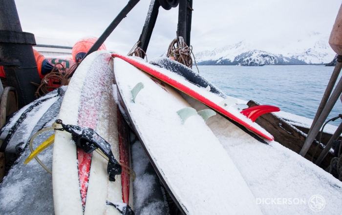 Winter surf trip aboard a commercial fishing boat in Alaska.