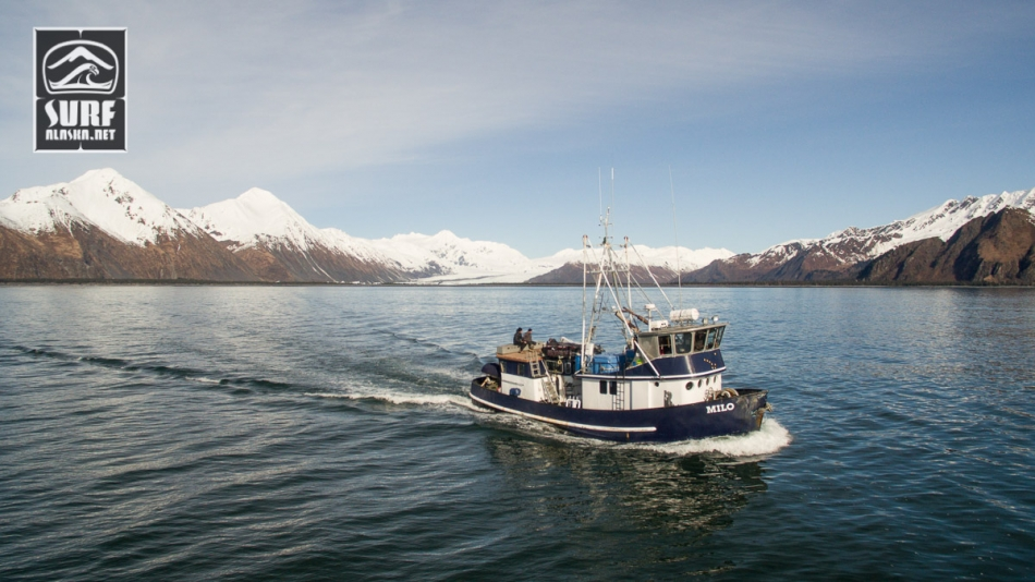 The m/v Milo on a boat based surf adventure in Alaska.