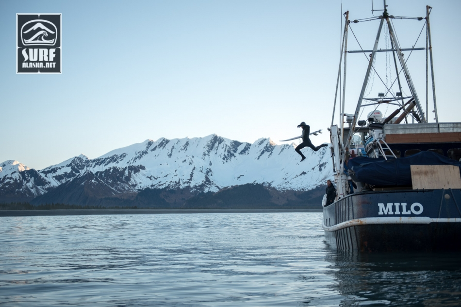 MIck Fanning on a boat based surf adventure in Alaska aboard the m/v Milo.