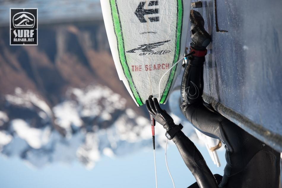 Mason Ho on a boat based surf adventrue in Alaska aboard the m/v MIlo.