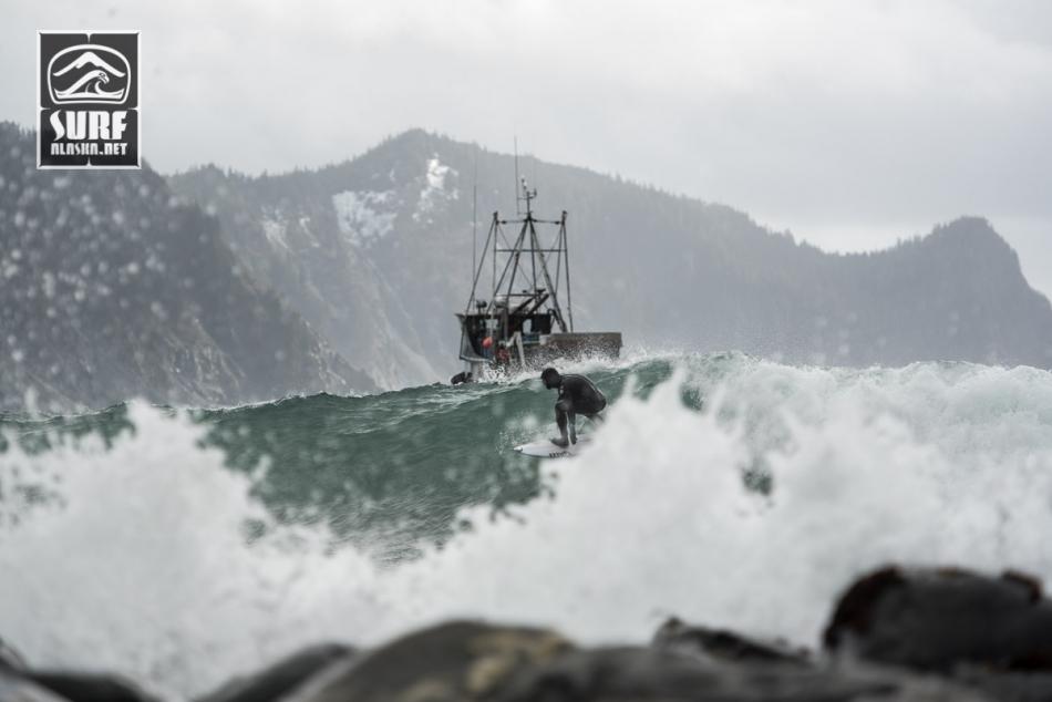 MIck Fanning on a boat based surf adventure in Alaska aboard the m/v Milo.