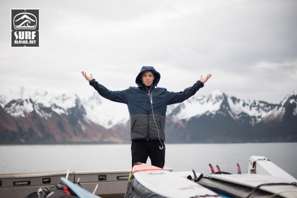 Taylor Paul aboard the M/V MIlo on a surf adventure in Alaska.