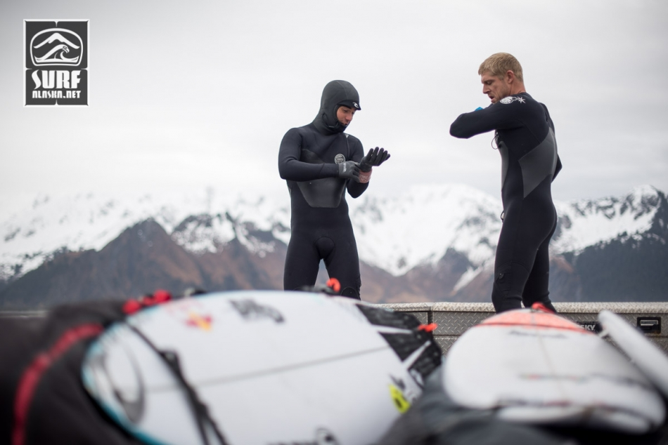 Mason Ho and Mick Fanning aboard the m/v Milo on a surf adventure in Alaska.